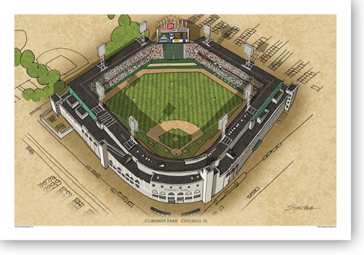 Terrific Comiskey Park Chicago White Sox Print Onthecornerstone Fun Painted Chair Ideas Images Onthecornerstoneorg