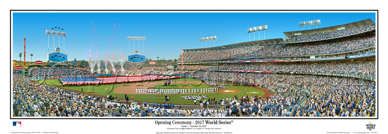 """""""2017 World Series"""" Los Angeles Dodgers at Dodger Stadium Panoramic Framed Poster"""