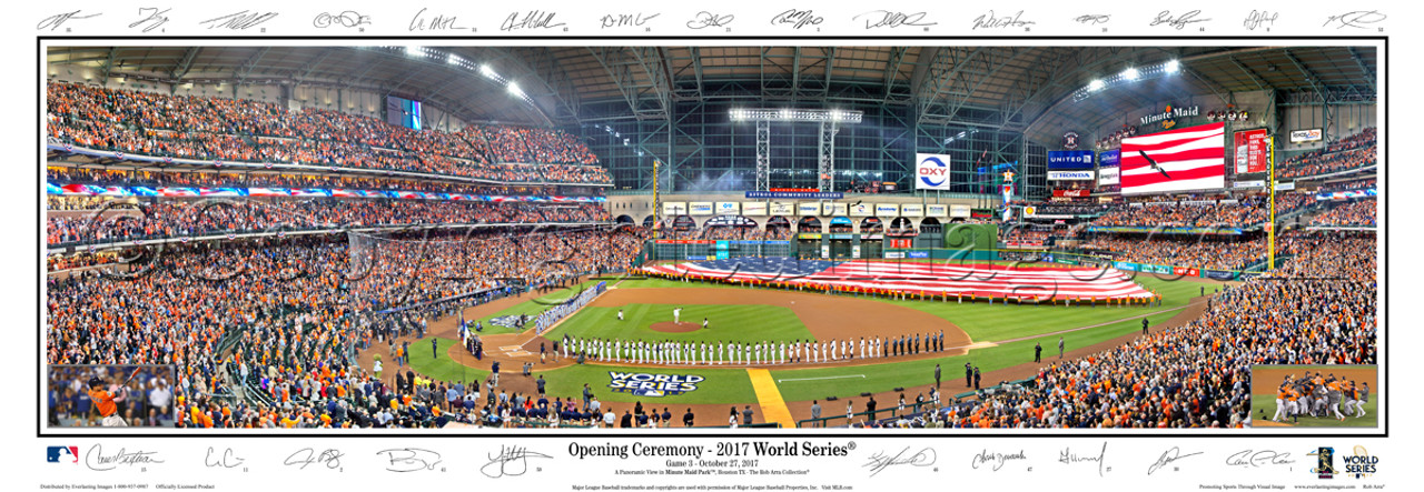 """""""Opening Ceremony - 2017 World Series"""" Houston Astros at Minute Maid Park Panoramic Framed Poster"""