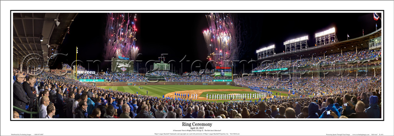 "Chicago Cubs ""Ring Ceremony"" Wrigley Field Panoramic Framed Poster"