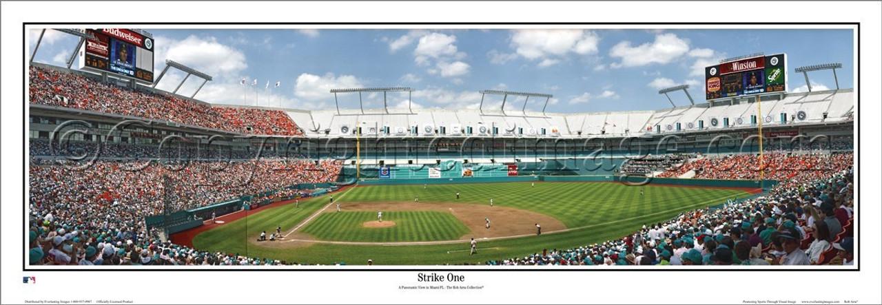 """Florida Marlins """"Strike One"""" Joe Robbie Stadium Panoramic Poster"""