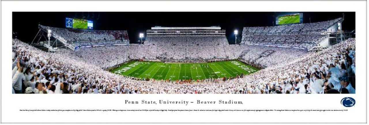 """Penn State Nittany Lions """"White Out"""" at Beaver Stadium Panoramic Poster"""