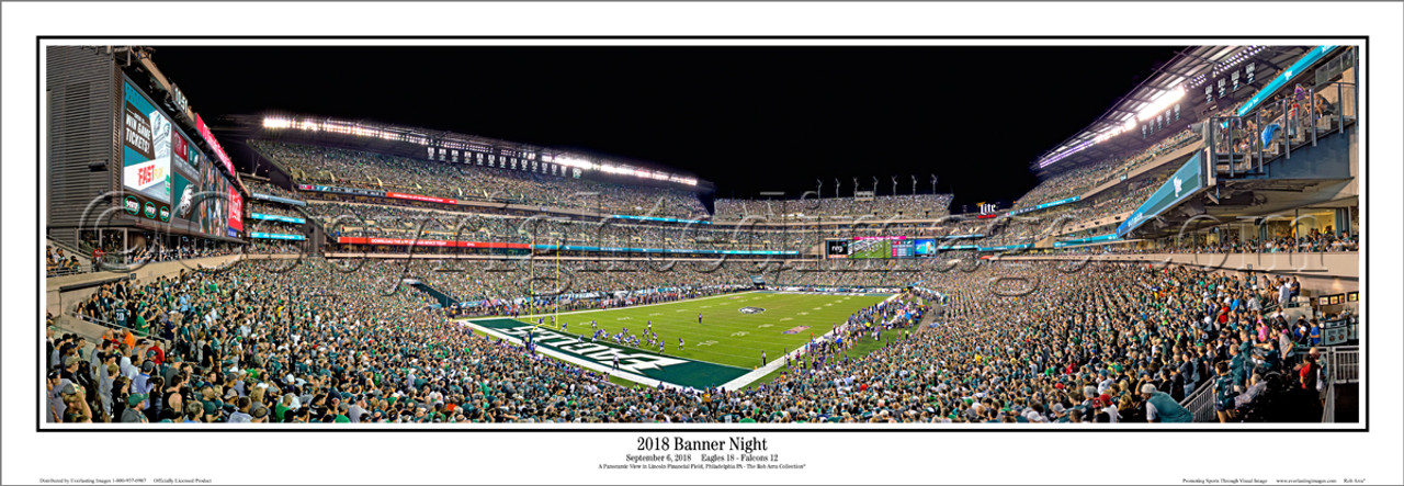 """Philadelphia Eagles """"2018 Banner Night"""" Lincoln Financial Field Panoramic Poster"""