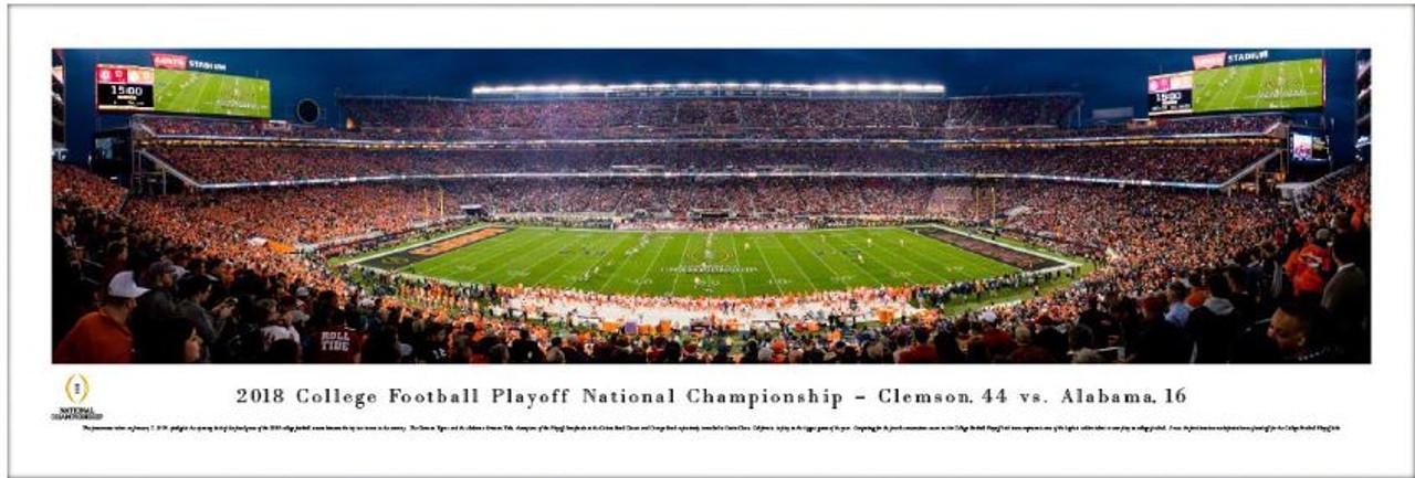 2018 College Football Playoff National Championship - Clemson vs Alabama Kickoff Panoramic Poster