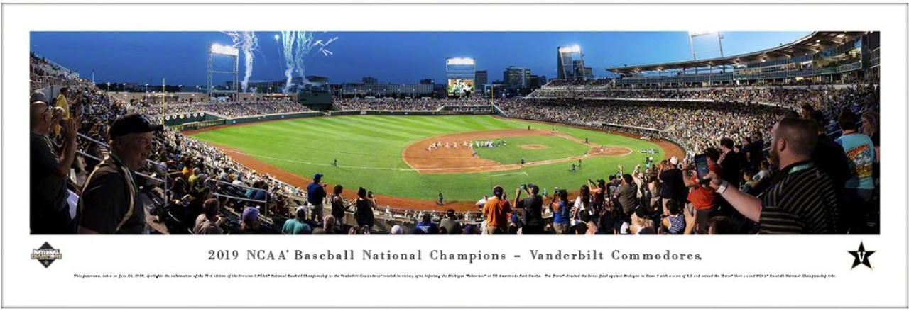 2019 College World Series Vanderbilt Commodores Champions Panoramic Poster
