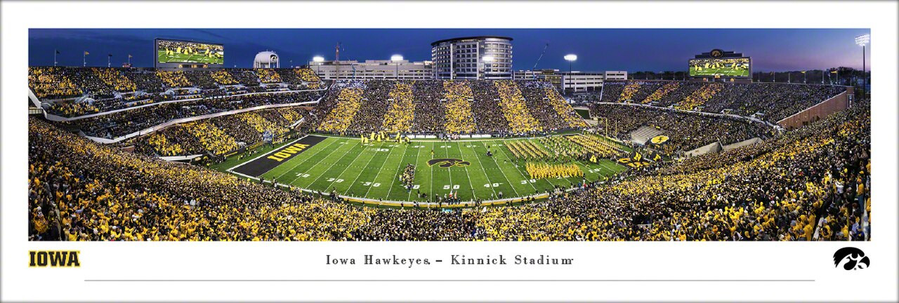 Iowa Hawkeyes 50 Yard Line at Kinnick Stadium Panoramic Poster