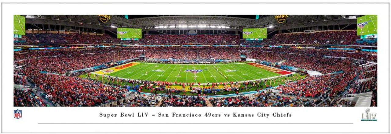 Super Bowl LIV San Francisco 49ers vs Kansas City Chiefs Panoramic Poster