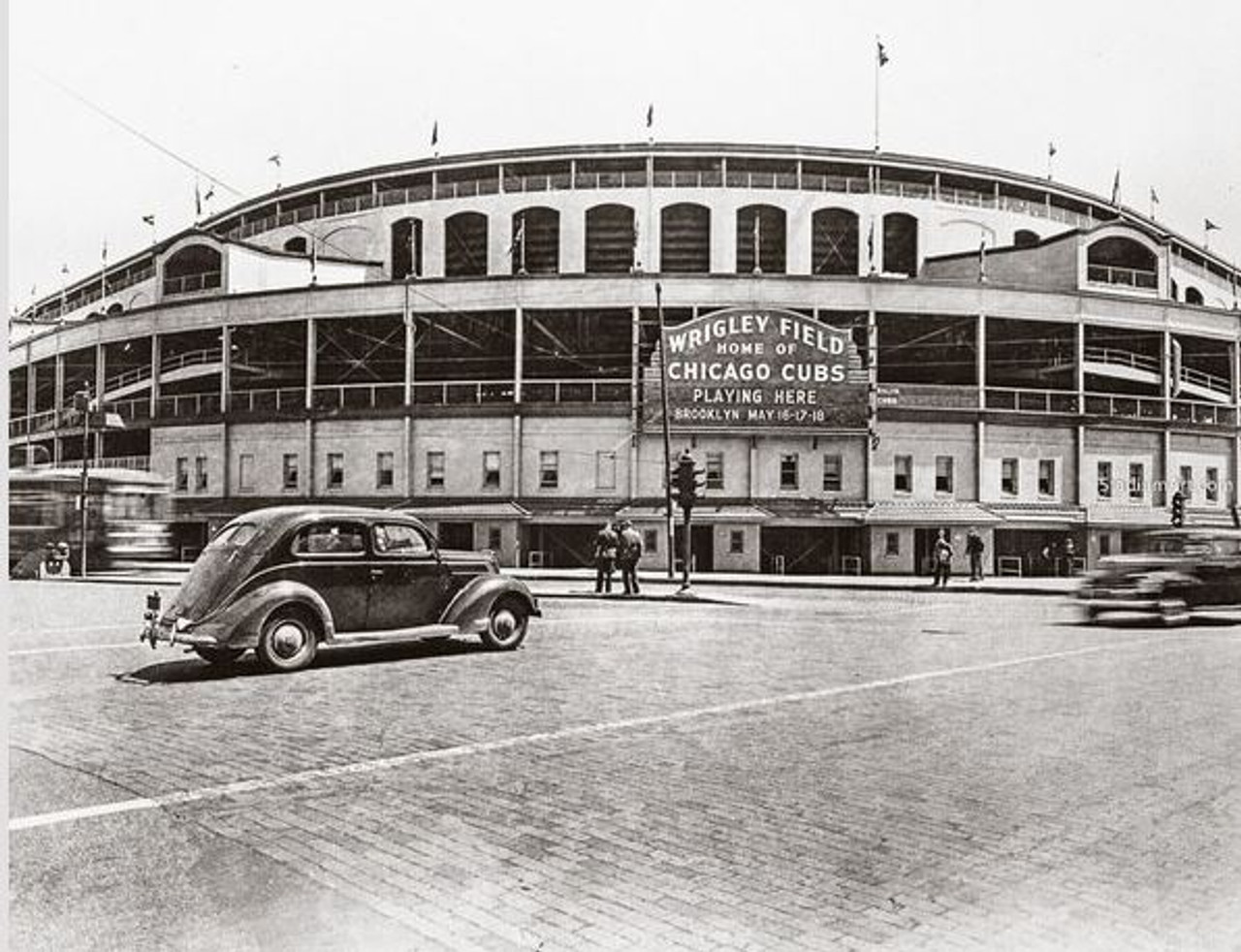 Chicago Cubs at Wrigley Field Vintage Exterior Print