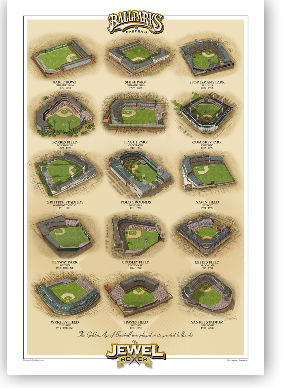 Jewel Boxes Vintage Ballparks Vertical Print