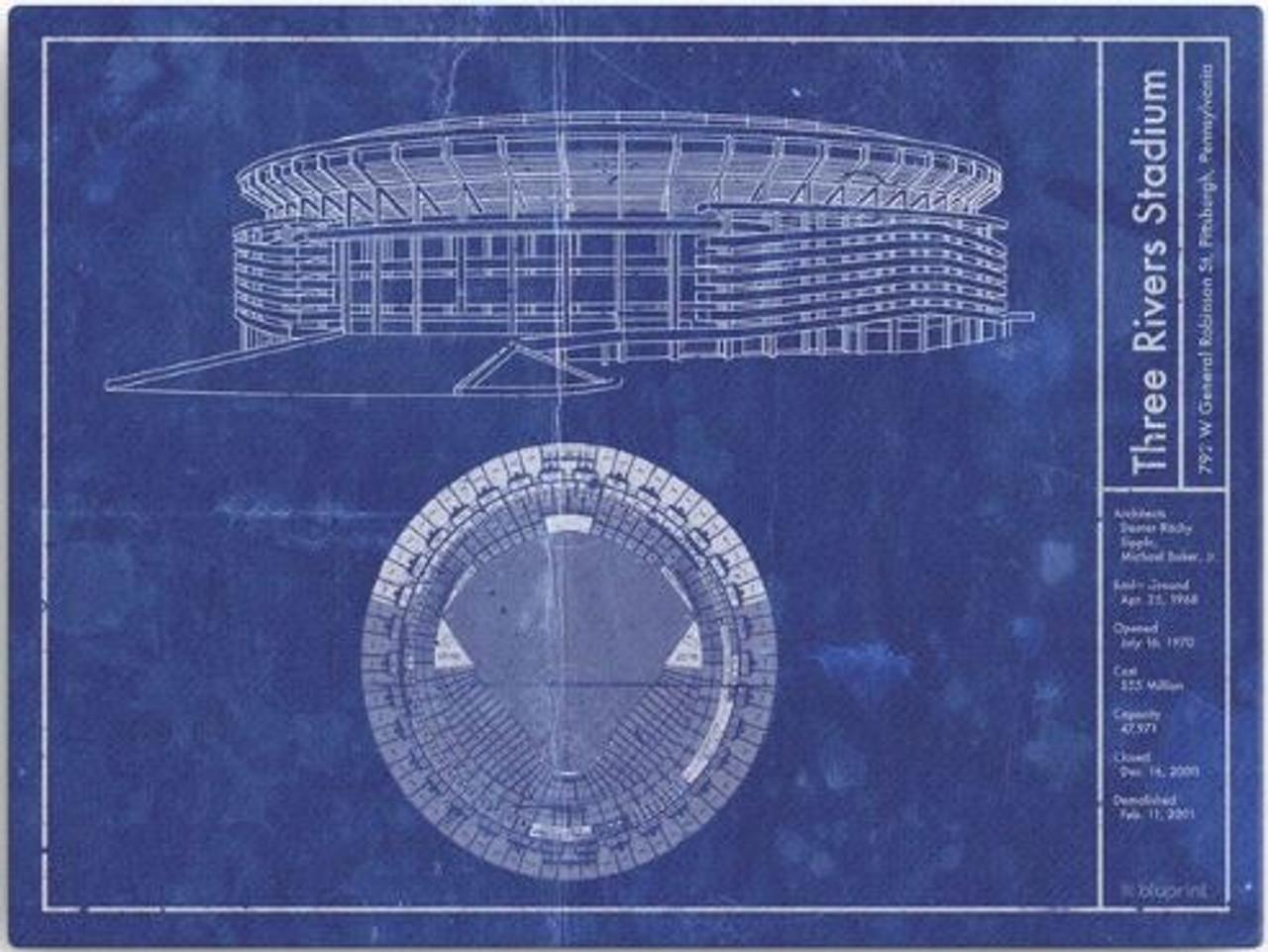 Three Rivers Stadium - Pittsburgh Pirates Blueprint Poster