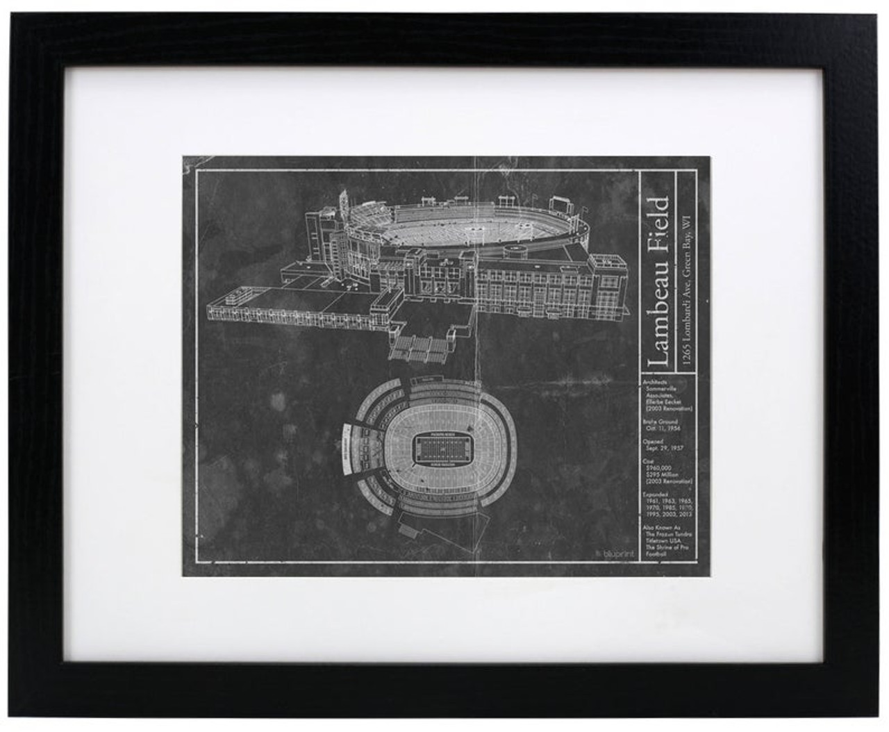 Lambeau Field - Green Bay Packers Blueprint Poster