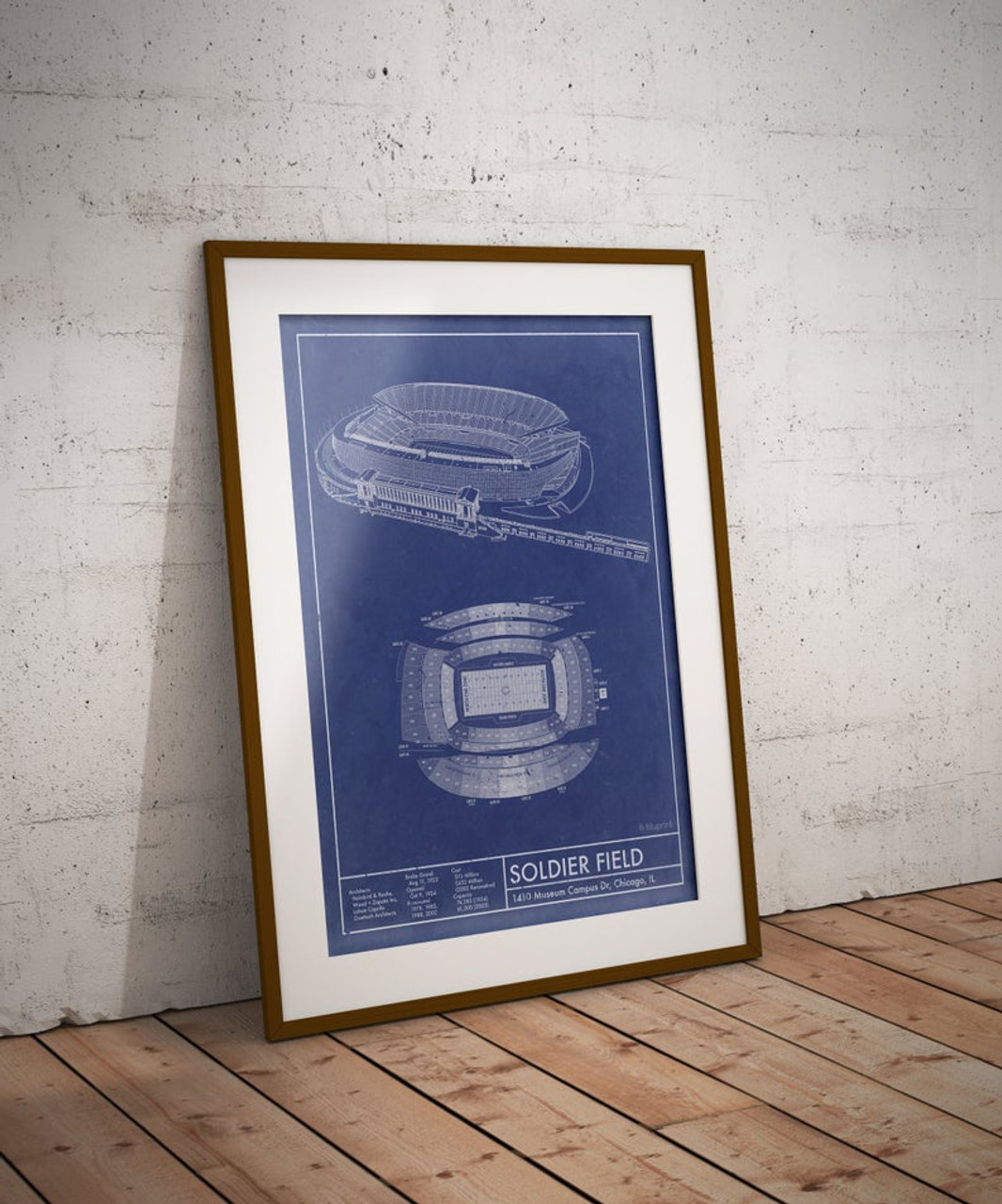 Soldier Field - Chicago Bears Blueprint Poster