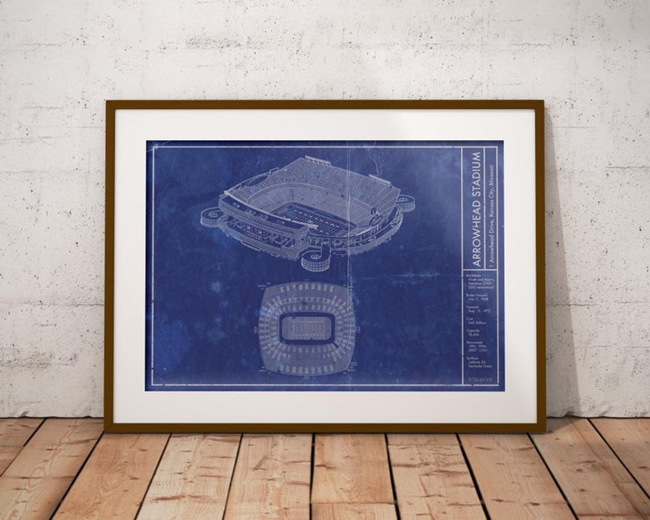 Arrowhead Stadium - Kansas City Chiefs Blueprint Poster