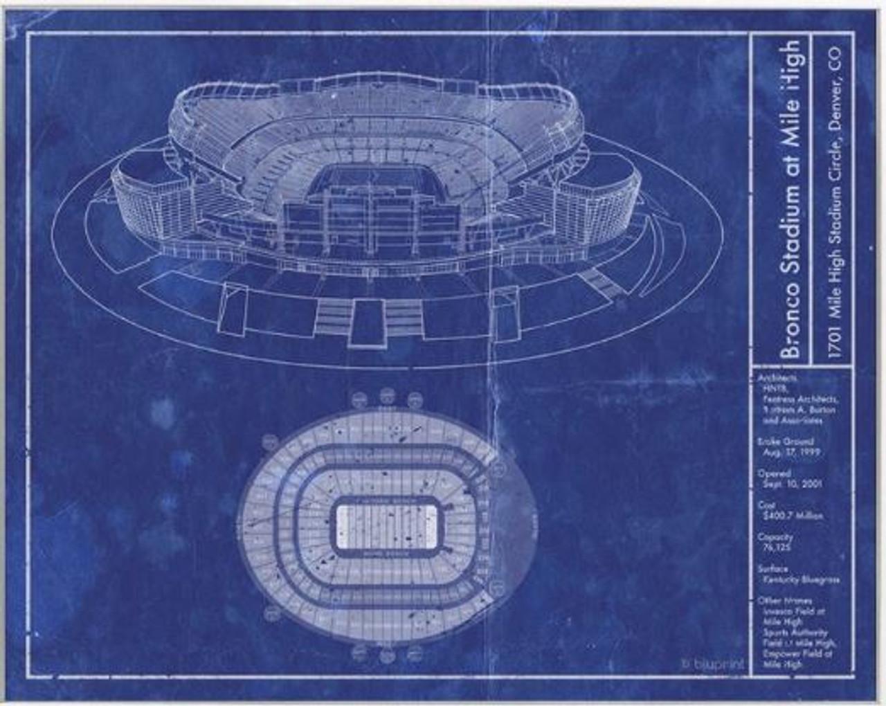 Bronco Stadium at Mile High - Denver Broncos Blueprint Poster
