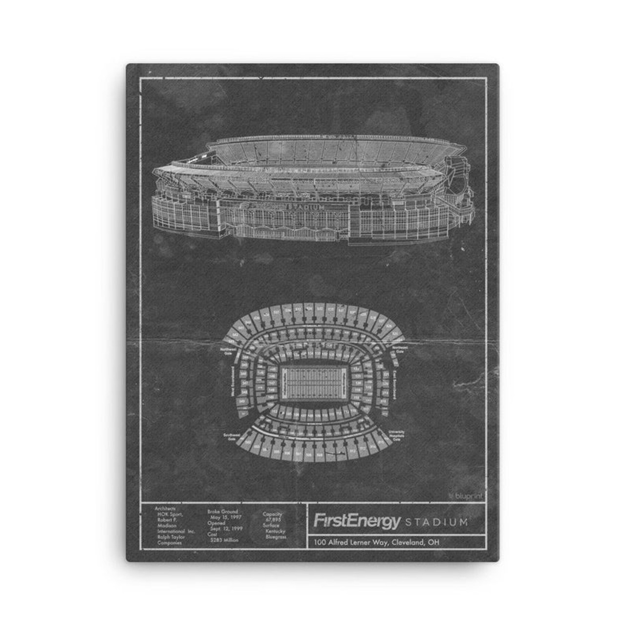 FirstEnergy Stadium - Cleveland Browns Blueprint Poster
