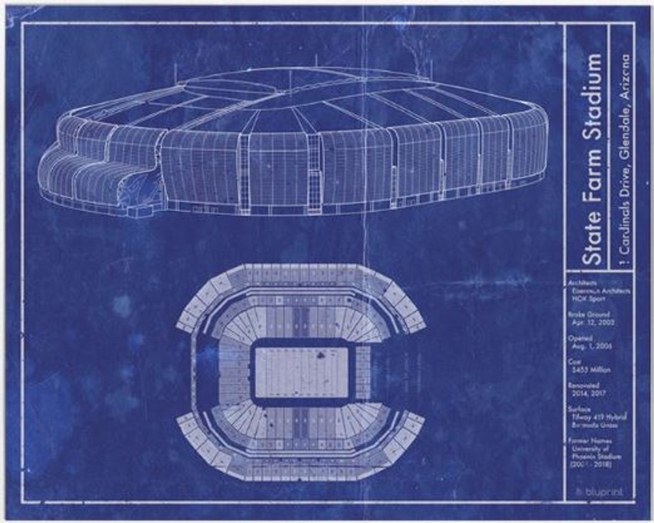 State Farm Stadium - Arizona Cardinals Blueprint Poster