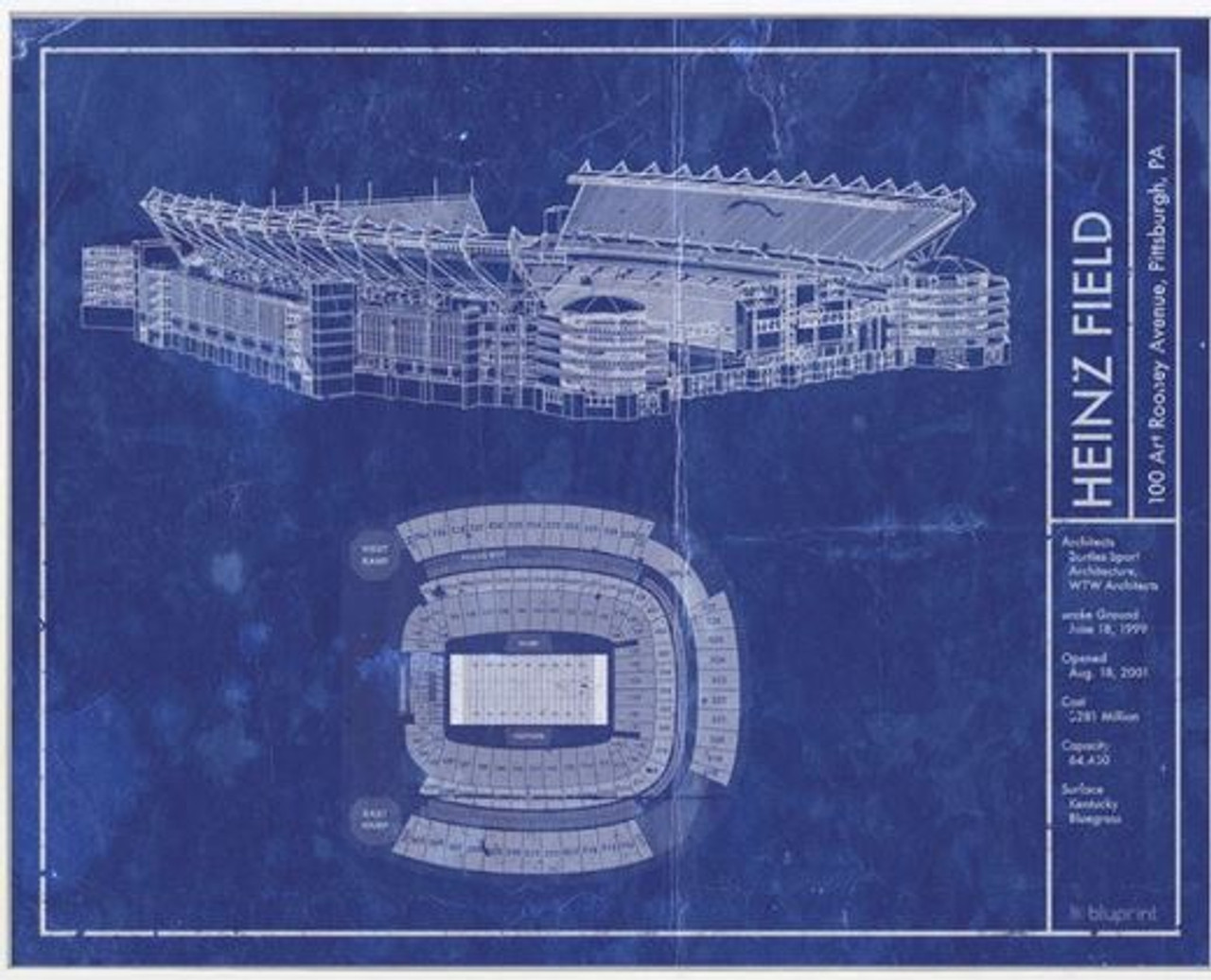 Heinz Field - Pittsburgh Steelers Blueprint Poster