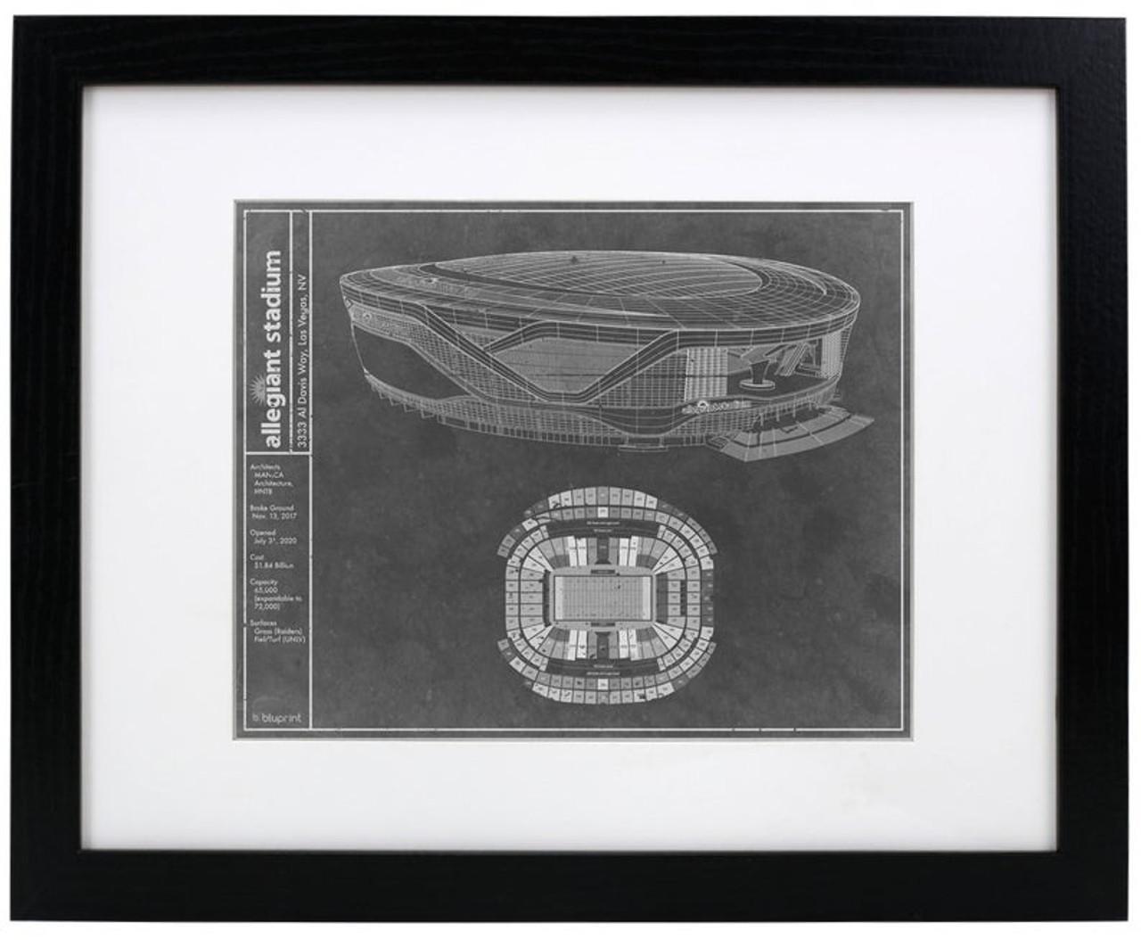 Allegiant Stadium - Las Vegas Raiders Blueprint Poster