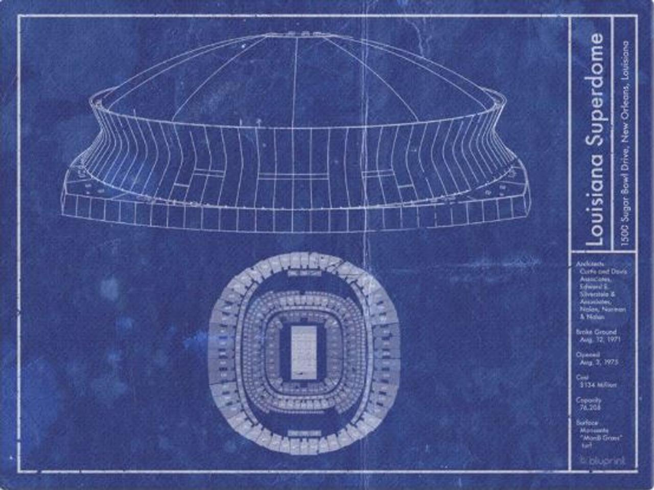 Superdome - New Orleans Saints Blueprint Poster