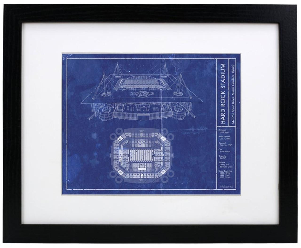 Hard Rock Stadium - Miami Dolphins Blueprint Poster