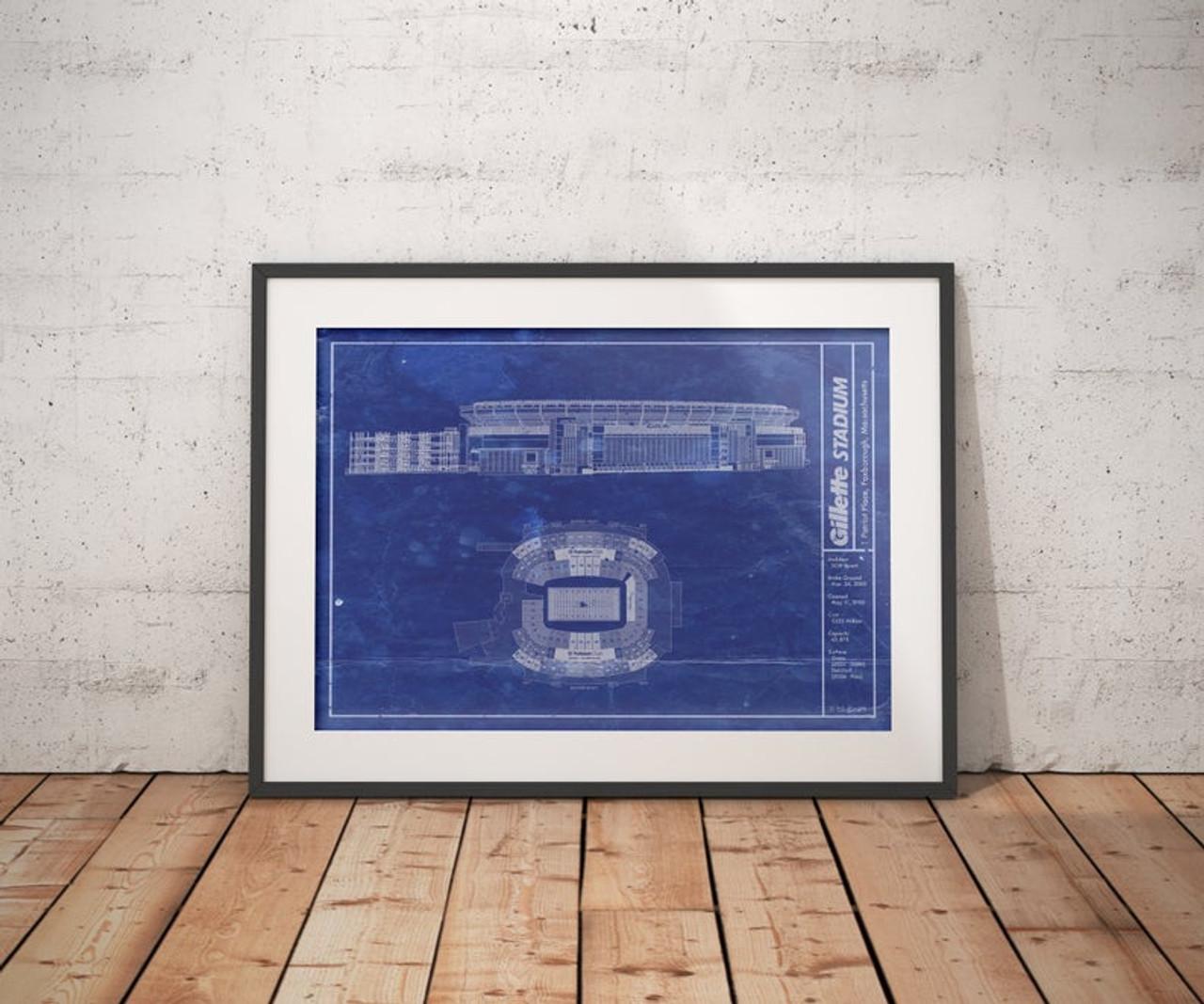 Gillette Stadium - New England Patriots Blueprint Poster