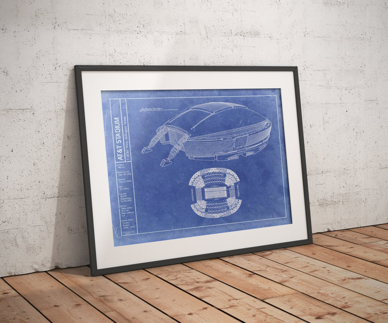 AT&T Stadium - Dallas Cowboys Blueprint Poster
