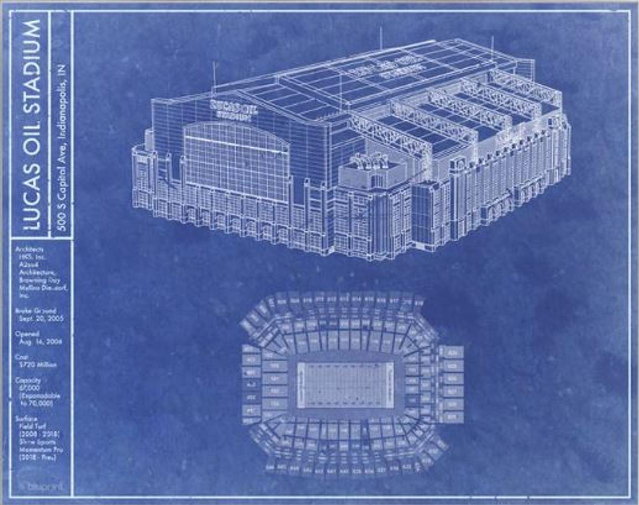 Lucas Oil Stadium - Indianapolis Colts Blueprint Poster