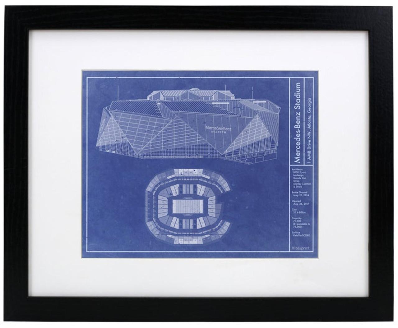 Mercedes-Benz Stadium - Atlanta Falcons Blueprint Poster