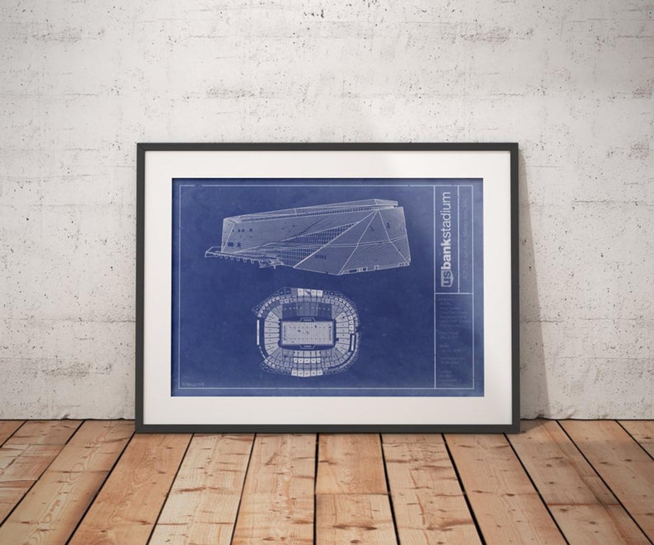 US Bank Stadium - Minnesota Vikings Blueprint Poster