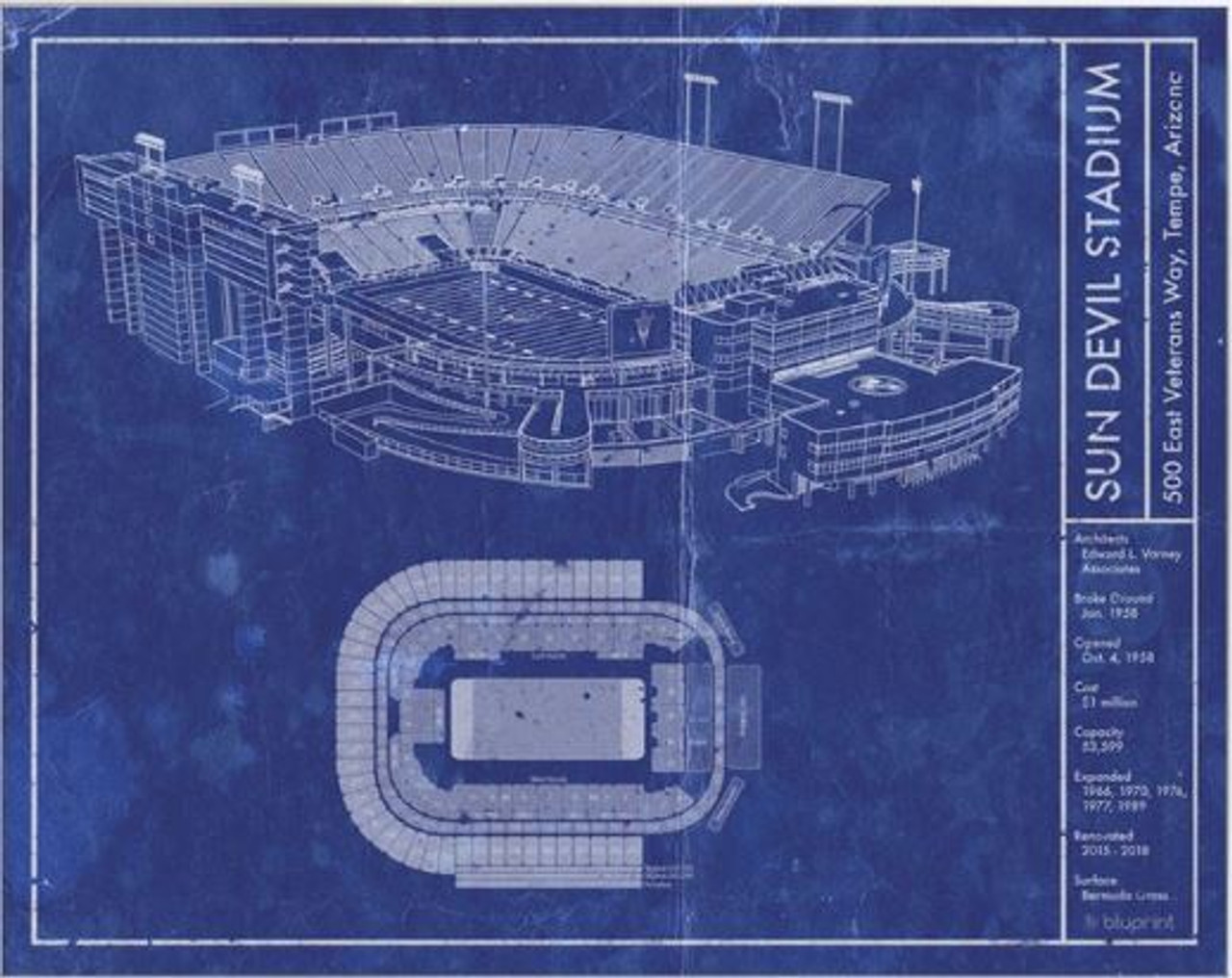 Sun Devil Stadium - Arizona State Sun Devils Blueprint Poster