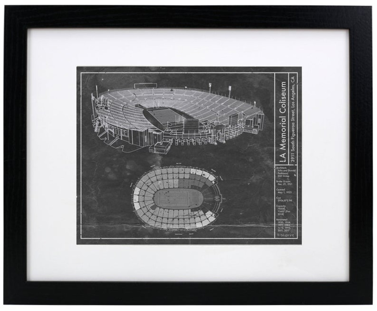 Los Angeles Coliseum - USC Trojans Blueprint Poster