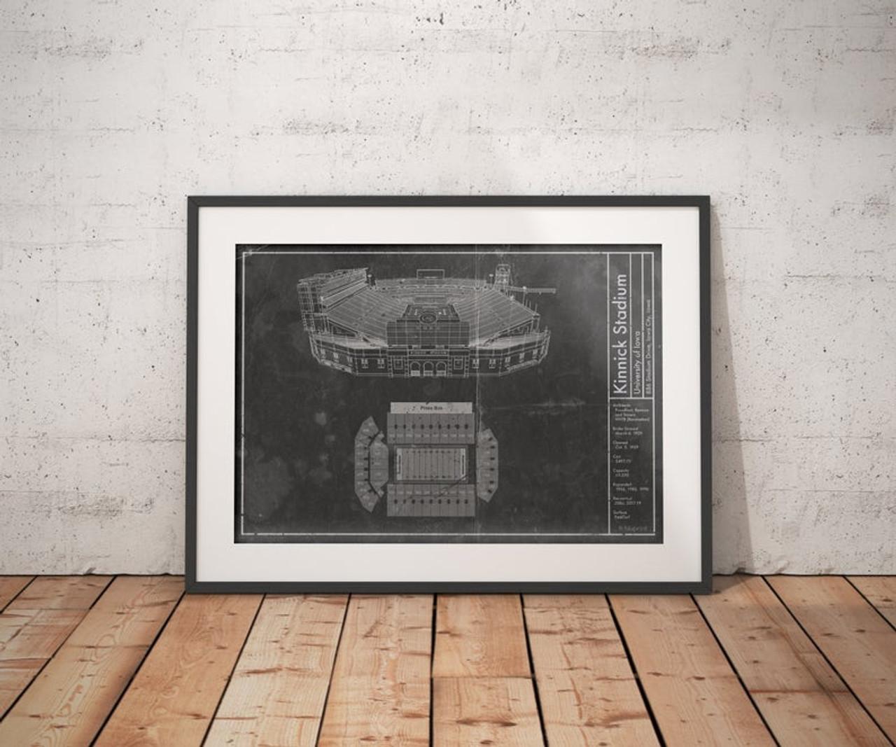 Kinnick Stadium - Iowa Hawkeyes Blueprint Poster