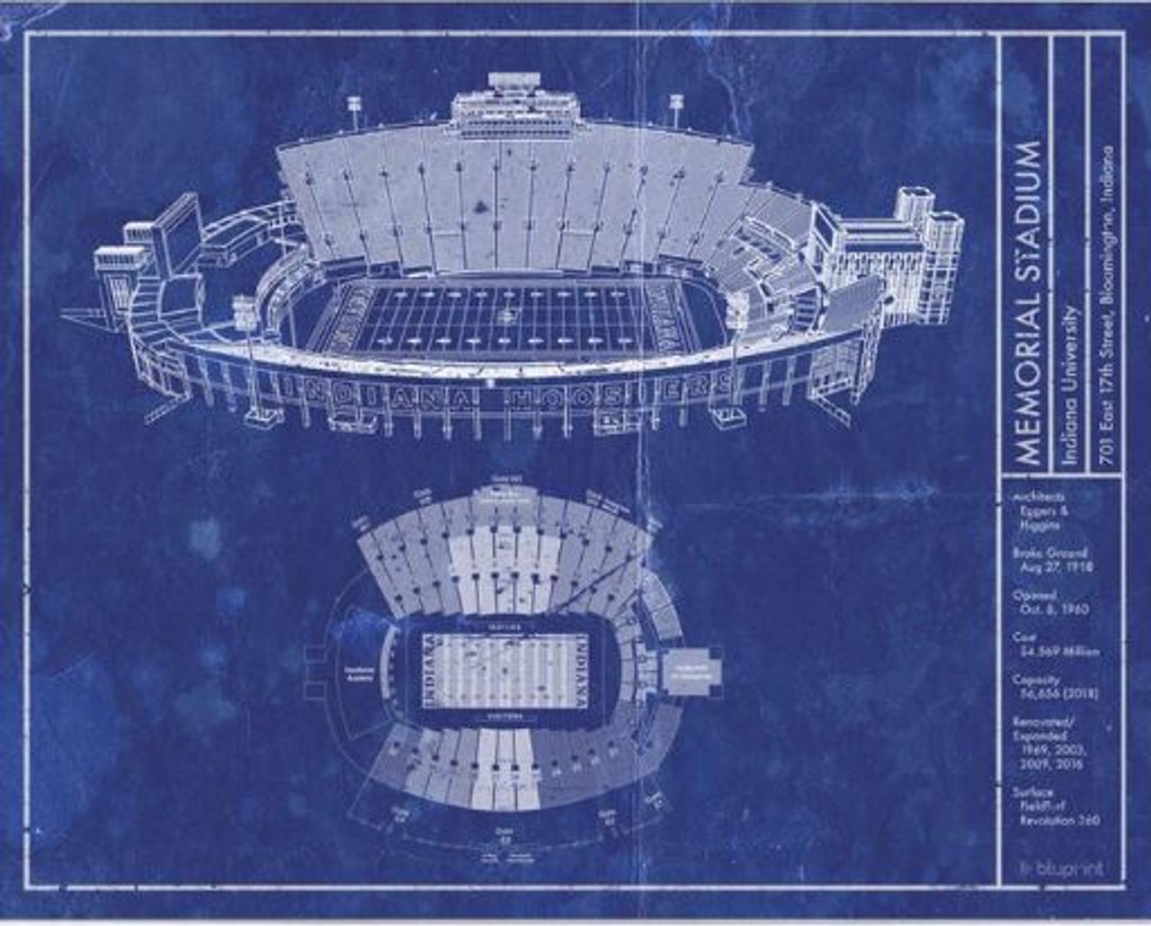 Memorial Stadium - Indiana Hoosiers Blueprint Poster