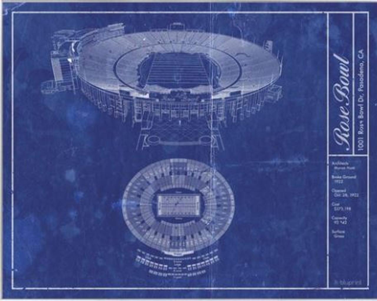 Rose Bowl Stadium Blueprint Poster