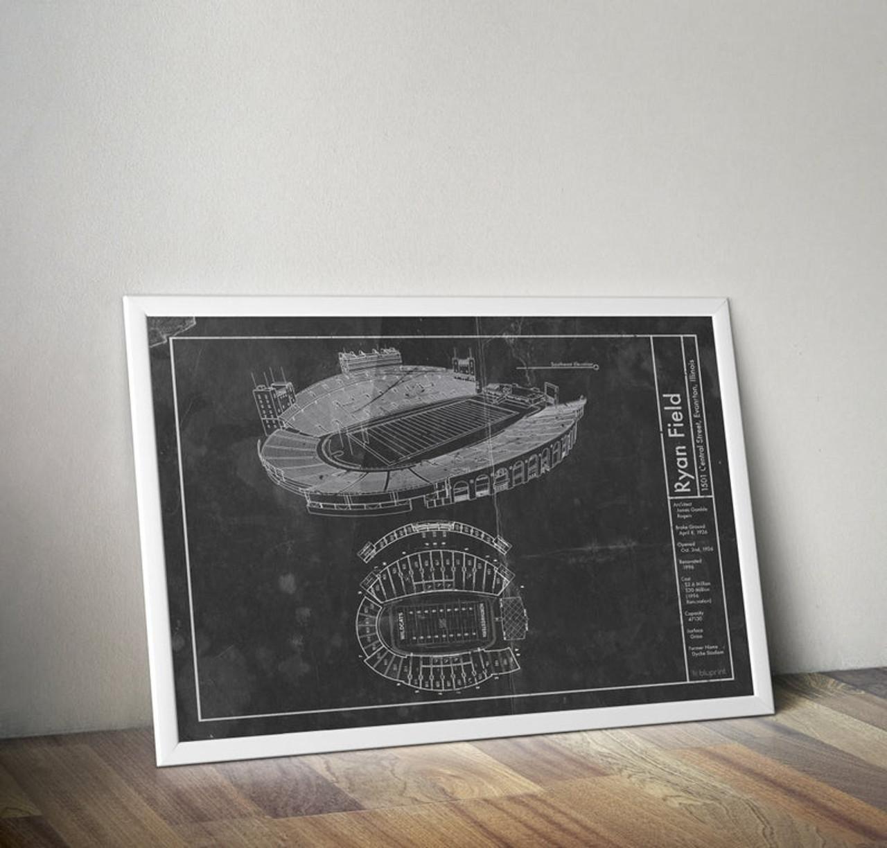 Ryan Field - Northwestern Wildcats Blueprint Poster