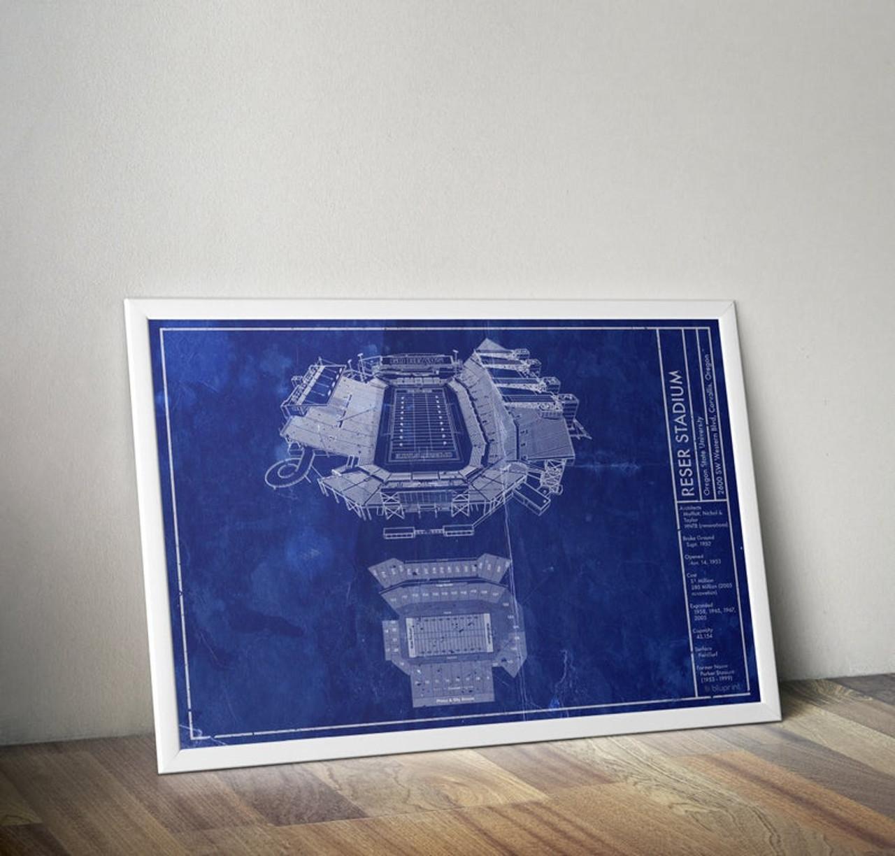 Reser Stadium - Oregon State Beavers Blueprint Poster