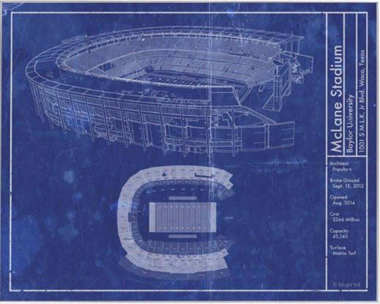 McLane Stadium - Baylor Bears Blueprint Poster