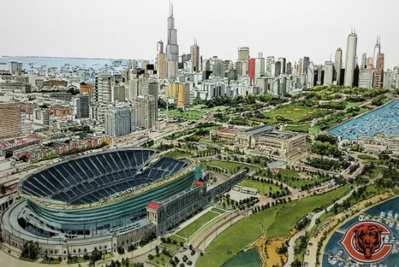 Soldier Field Aerial - Chicago Bears  Art Print