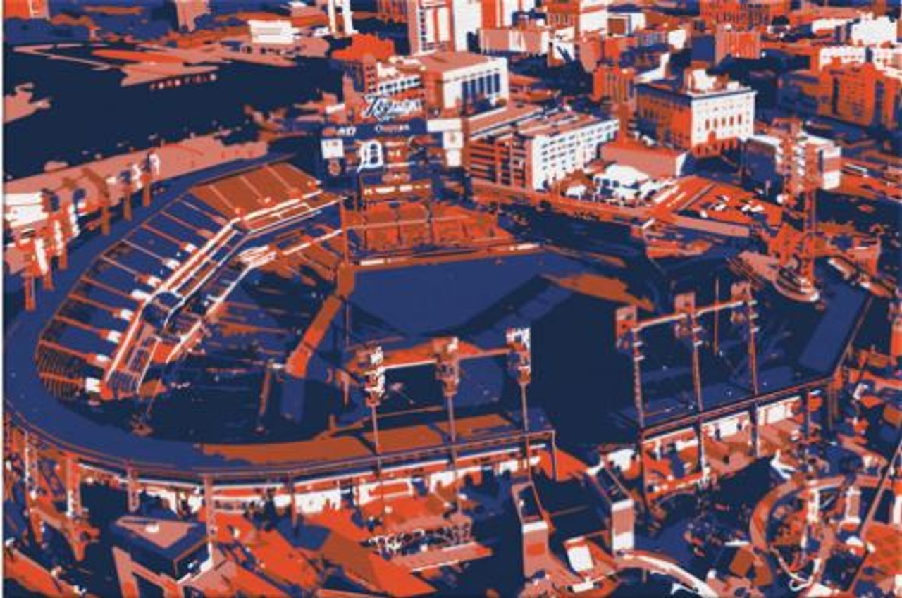 Comerica Park - Detroit Tigers Aerial Canvas Print