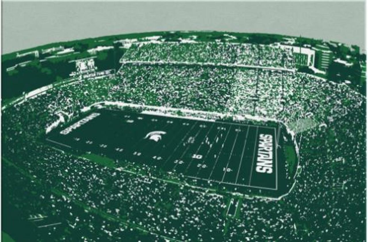 Spartan Stadium - Michigan State Spartans Aerial Canvas Print