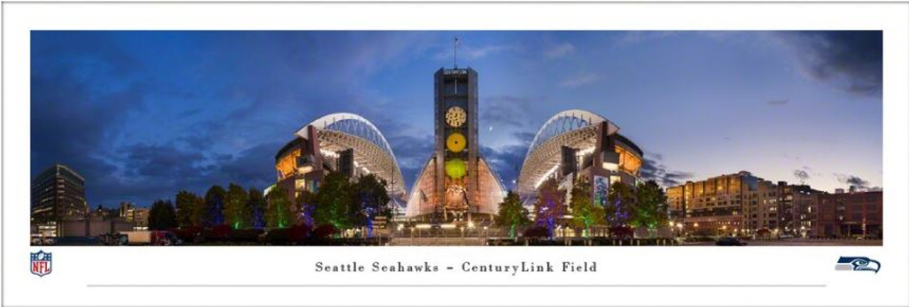 """Seattle Seahawks at """"Exterior"""" CenturyLink Field Panoramic Poster"""