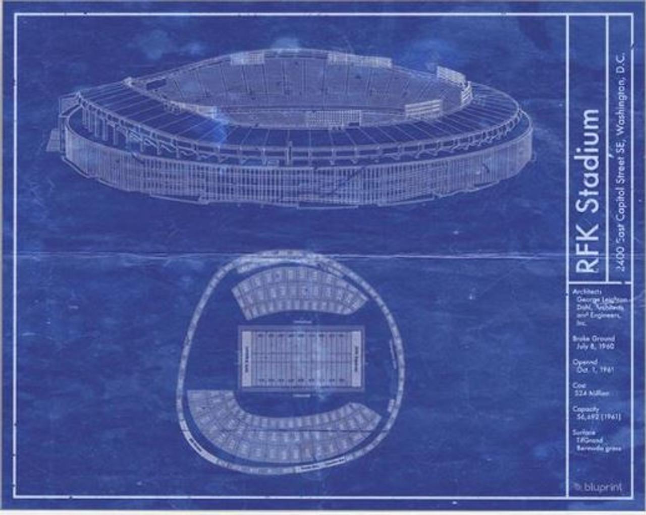 RFK Stadium - Washington Redskins Blueprint Poster