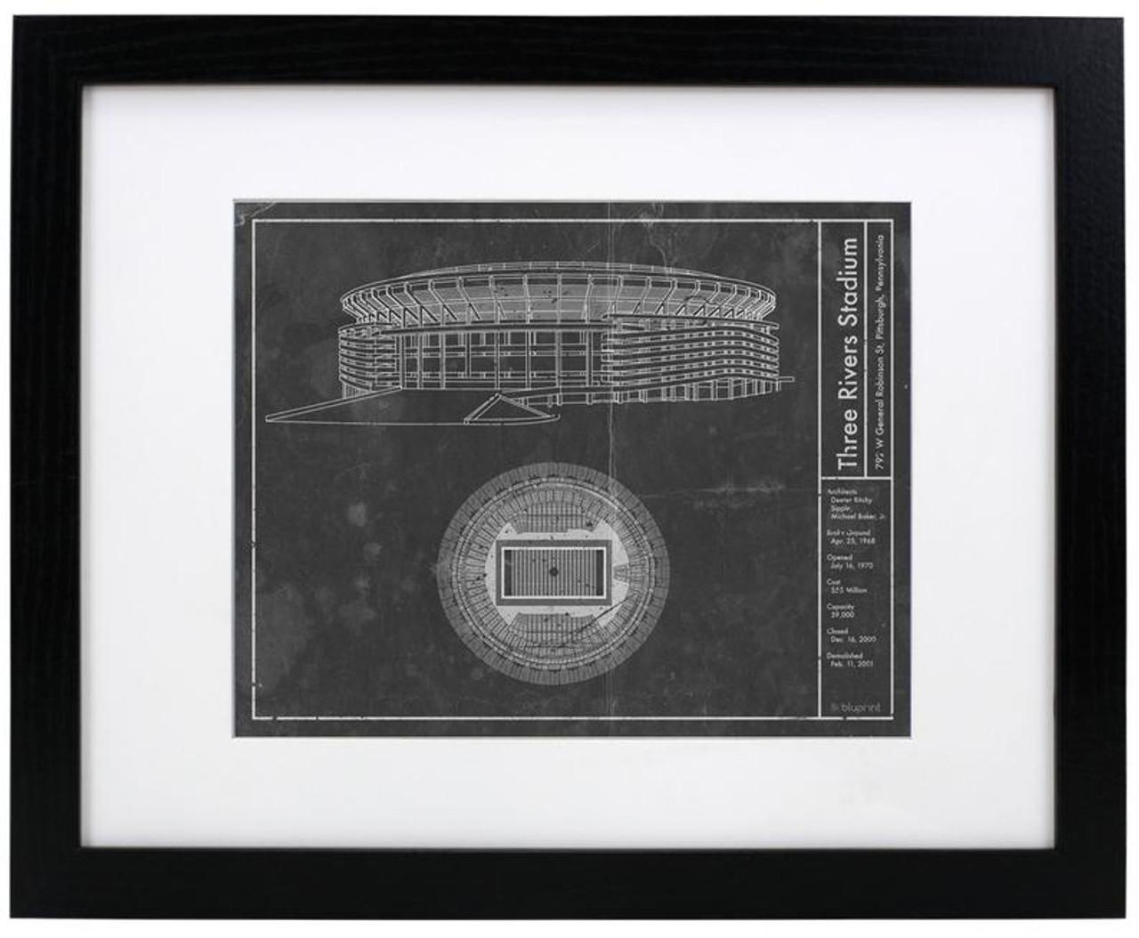 Three Rivers Stadium - Pittsburgh Steelers Blueprint Poster