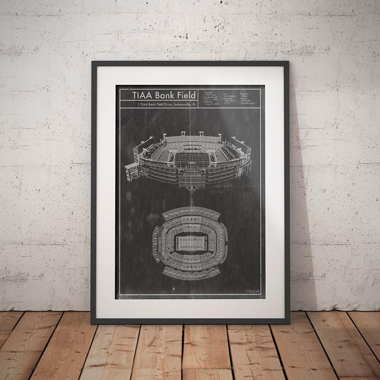 TIAA Bank Field - Jacksonville Jaguars Blueprint Poster