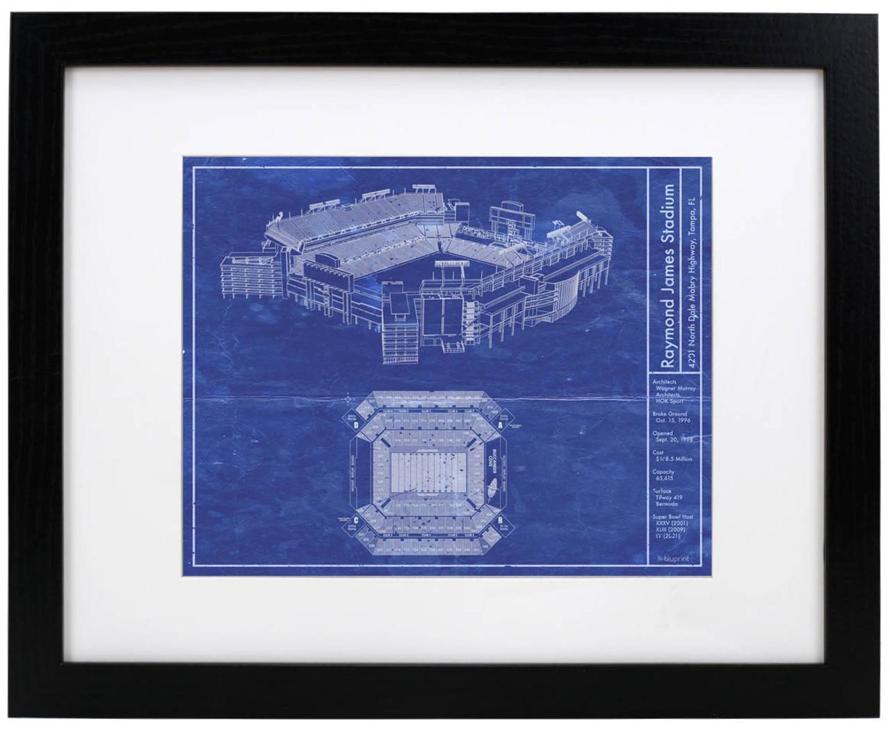 Raymond James Stadium - Tampa Bay Buccaneers Blueprint Poster