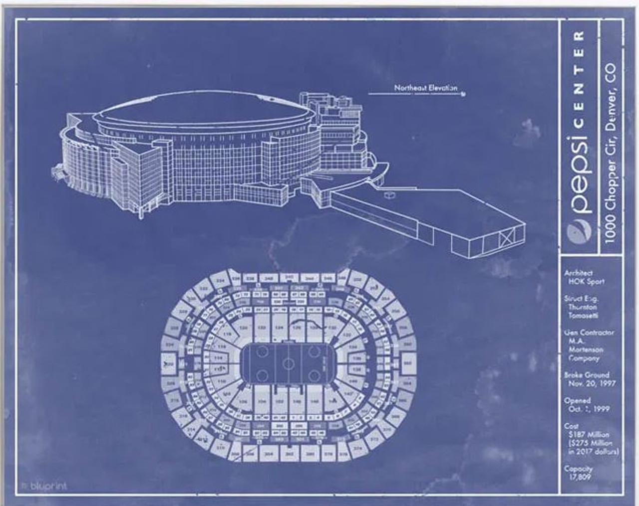 Pepsi Center - Colorado Avalanche Blueprint Poster