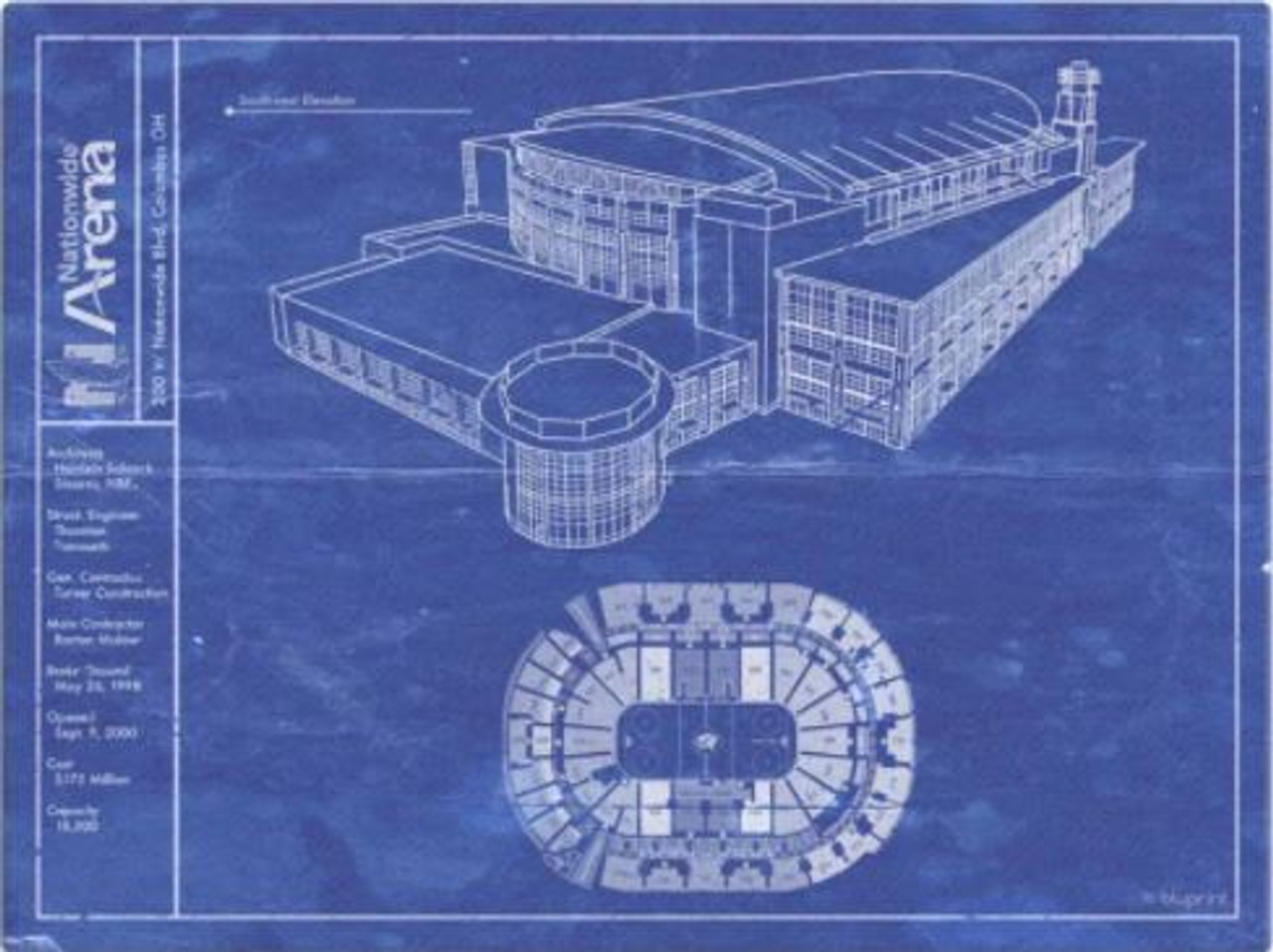 Nationwide Arena - Columbus Blue Jackets Blueprint Poster