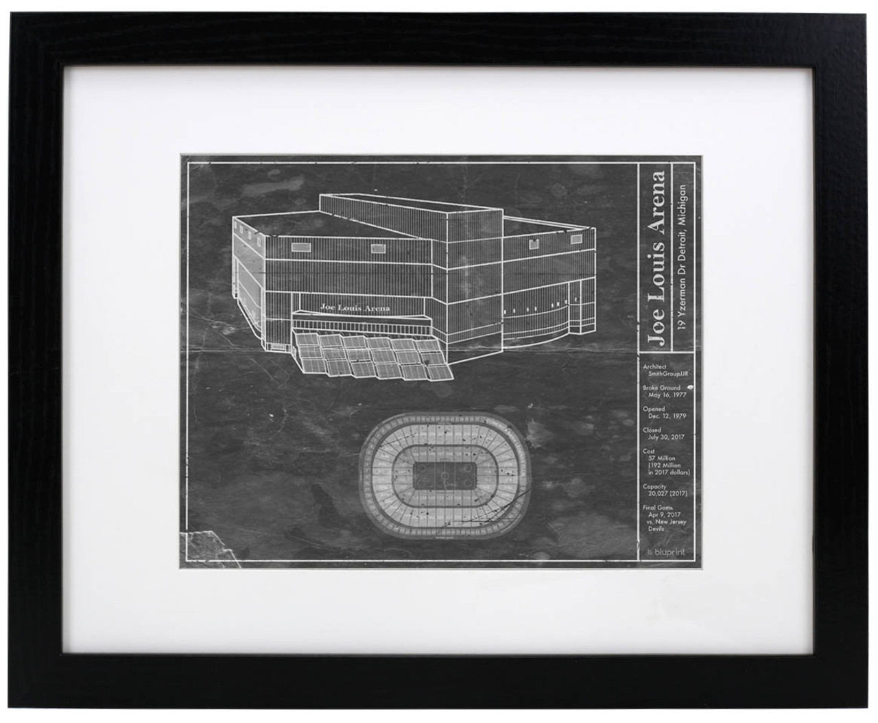 Joe Louis Arena - Detroit Red Wings Blueprint Poster