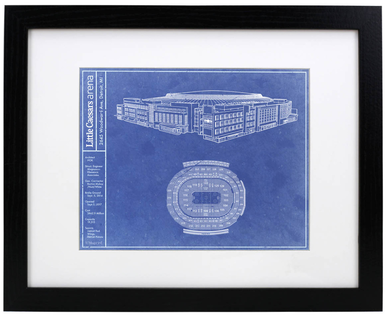 Little Caesars Arena - Detroit Red Wings Blueprint Poster