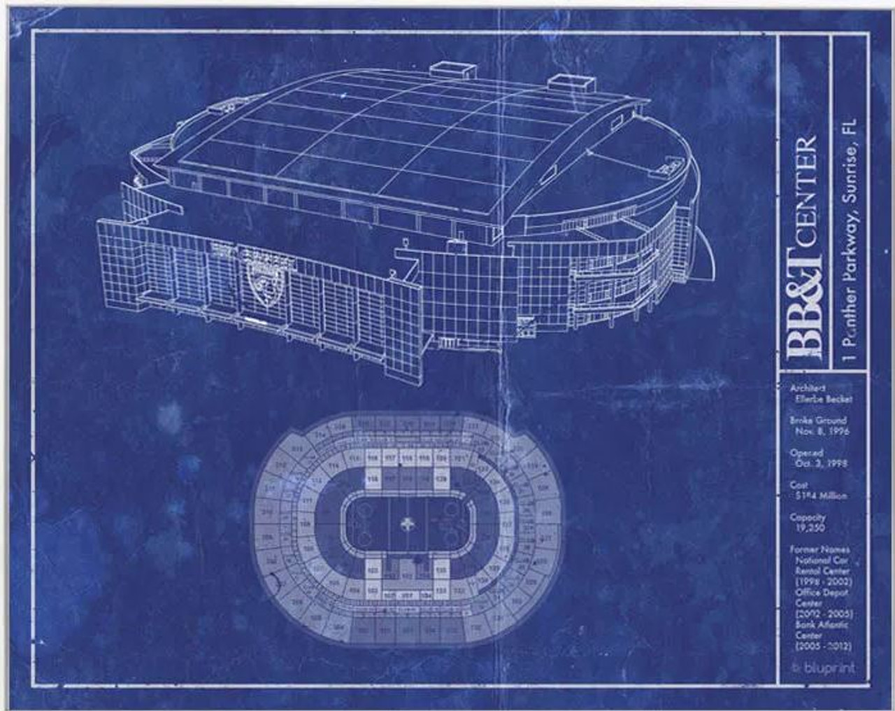 BB&T Center - Florida Panthers Blueprint Poster